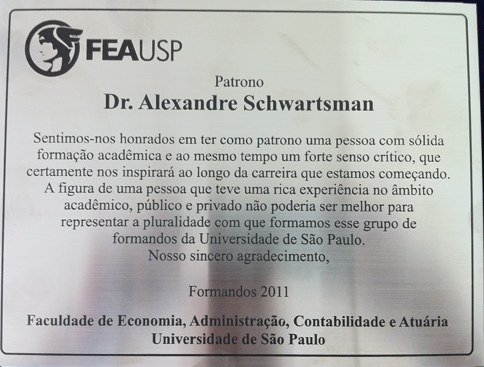 Placa de Homenagem para Professor